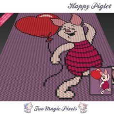 Happy Piglet Disney inspired c2c graph crochet pattern; instant PDF download…