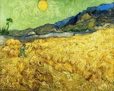Vincent van Gogh (Dutch, Post-Impressionism, 1853-1890): Wheat Field with Reaper and Sun, 1889. Created in Saint-Rémy-Blanzy, France. Oil on canvas, 73 x 92 cm. Van Gogh Museum, Amsterdam, Netherlands.