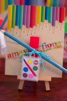 Rainbow art party favors