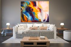 Large Abstract Painting on Canvas,Large Painting on Canvas,painting colorful,large art on canvas,livingroom decor art Outdoor Wall Decor Large, Modern House Colors, Artwork For Living Room, Large Painting, Painting Canvas, Canvas Art, Canvas Wall Decor, Abstract Wall Art, Illustration