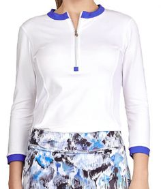 Sofibella Ladies & Plus Size ¾ Sleeve Golf Shirts - DREAMSCAPE (White)