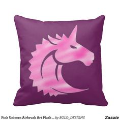 Pink Unicorn Airbrush Art Plush Throw Pillow
