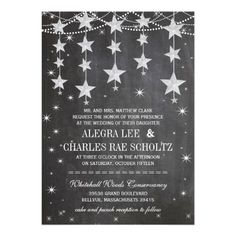 Evening Wedding Chalkboard Under the Stars Personalized Announcements