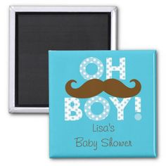 Mustache Oh Boy Party Favor Magnets
