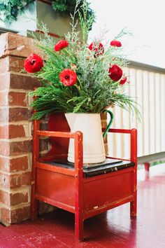 To add height to potted evergreens or planted winter floral, place vases or containers on top of vintage stands, chairs or stools. Porch Decorating, Interior Decorating, Decorating Ideas, Holiday Decorating, Design Your Home, House Design, Front Porch Pictures, Winter Flower Arrangements, Affordable Home Decor