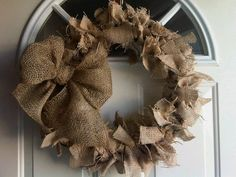 COUNTRY PRIMITIVE  natural burlap WREATH. So simple and so cute.