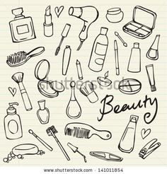 Beauty & cosmetics icons vector doodles by Ohn Mar, via ShutterStock