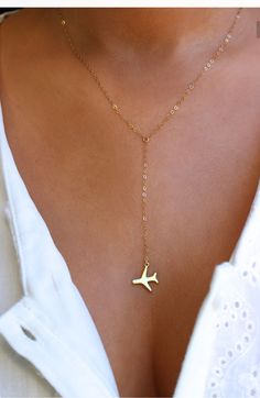 ORIGINAL Airplane Gold or Silver Lariat Necklace Travel Inspired Jewelry Airplane Necklace Pilot Necklace Traveler Wanderlust Jewelry Cute Jewelry, Jewelry Accessories, Fashion Accessories, Fashion Jewelry, Travel Accessories, Jewelry Ideas, Jewelry Rings, Gold Fashion, Etsy Jewelry