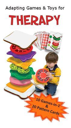 Sandwich Stacking Game - 10 games and 20 pattern cards. Lots of options! I have quite a few Melissa & Doug items, and Sandwich Stack. Occupational Therapy Activities, Therapy Games, Therapy Ideas, Speech Language Pathology, Speech And Language, Language Activities, Toddler Activities, Hand Therapy, Physical Therapy