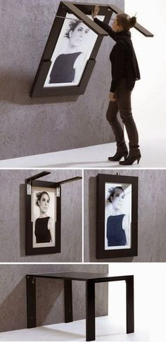 Life Hacks For Living Large In Small Spaces 2019 DIY Folding Table Doubles As Picture Frame. This would be great in a small kitchen or a playroom for kids! The post Life Hacks For Living Large In Small Spaces 2019 appeared first on Furniture ideas. Smart Furniture, Space Saving Furniture, Furniture Design, Furniture Ideas, Folding Furniture, Kitchen Furniture, Unique Furniture, Furniture Stores, Multipurpose Furniture