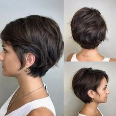 Cute Textured Brunette Pixie Bob - New Hair Styles Bob Haircuts For Women, Short Bob Haircuts, Short Hairstyles For Women, Textured Hairstyles, Hairstyles 2018, Thin Hairstyles, Long Short Hair, Short Hair Cuts For Women Pixie, Haircut Short