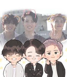 V Chibi, Cute Anime Chibi, Jungkook Fanart, Kpop Fanart, Foto Bts, Bts Taehyung, Bts Jimin, Bts Cute, Chibi Wallpaper