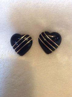 Vintage Gold And Black Earrings Missing Backs #666