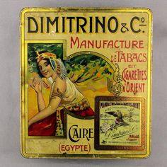 Early c1910 Adv. Lithographed Tin Box - Dimitrino Cigarettes Egyptian Smoking Lady