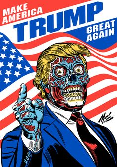 "In Mexico City, an artist is displaying a caricature of Donald Trump as an alien overlord, inspired by John Carpenter's cult b-movie classic ""They Live. Protest Kunst, Protest Art, Political Posters, Political Art, Political Images, Political Events, Caricature Donald Trump, Donald Trump Karikatur, Real Donald Trump"