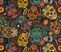 Mexican Sugar Skulls (small) fabric by lusyspoon on Spoonflower - custom fabric