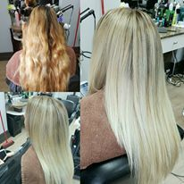 Full Head of Baby lights, hair that was left out of foils was balayaged to create this soft blonde colour with a dropped natural root.