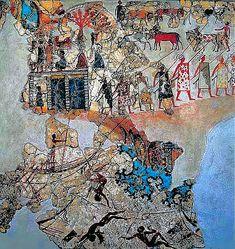 Minoan Assembly on Hill Shipwreak Fresco Art from Akrotiri, Santorini, Greece Ancient Aliens, Ancient History, Fresco, Tempera, Bronze Age Civilization, Minoan Art, Mycenaean, Creta, Greek Art