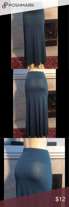 S&L Fold Over MAXI SKIRT Turquoise Stretch S(D147) S&L Fold Over MAXI SKIRT  Green Turquoise  Stretch  Small size Length 42 (D147) S&L Skirts Maxi