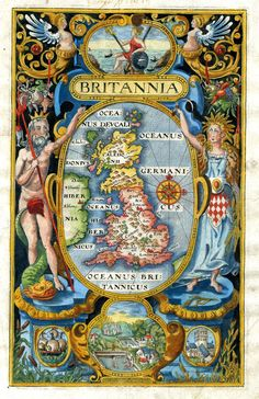 The most amazing vivid colours in this Britannia engraving by William Hole, London 1607