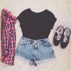 checkered shirt, black crop top, high-waisted shorts, black vans