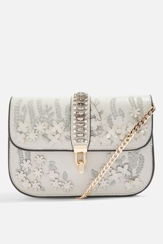 Grey Flower Embellished Cross Body Bag - Bags & Purses - Bags & Accessories - Topshop
