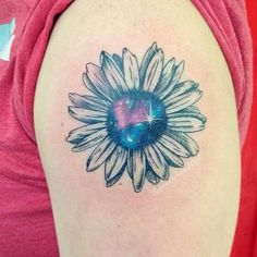 Custom galaxy sunflower tattoo done by Sniper @oxygentattoo