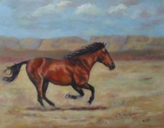 "Equine Artists International - Contemporary Fine Art International: ""Freedom"" Original Horse Oil Painting by Arizona Artist Mary Opat"