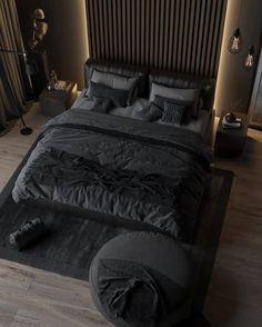 Black Bedroom Design, Black Bedroom Decor, Bedroom Setup, Home Room Design, Master Bedroom Design, Home Decor Bedroom, Home Interior Design, Modern Interior, Bedroom Inspo