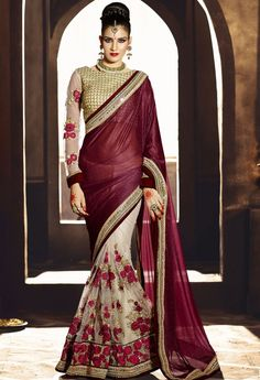 Maroon Lycra Designer Saree With Embroidery Work 36650
