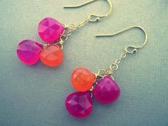 Orange and Pink Earrings Gemstone Jewelry by JulianaWJewelry, $40.00