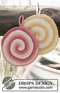 "Candy Daze - Crochet DROPS pot holder with stripes and spiral in ""Paris"". - Free pattern by DROPS Design"