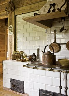 Rustic kitchen - love the tiles