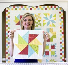Block-One---Flying-Kite by Fat Quarter Shop. Free BOM quilt along
