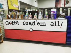 Gotta read 'em all! Display of Pokémon books at our Alondra Library in California. 39 libraries are PokeStops and 14 are… School Library Displays, Middle School Libraries, Elementary Library, Library Bulletin Boards, Bulletin Board Display, Teen Library, Library Ideas, Library Games, Library Wall