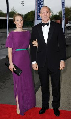 Zara Phillips in a Roksanda Ilincic Washed Satin Jersey Gown with Jimmy Choo Comic platforms in Nude.