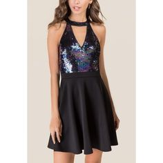 Dayle Gigi Sequin Combo Dress - Purple ($54) ❤ liked on Polyvore featuring dresses, purple, a-line dresses, sequined dress, a line cocktail dresses, purple cocktail dresses and sequin cocktail dresses