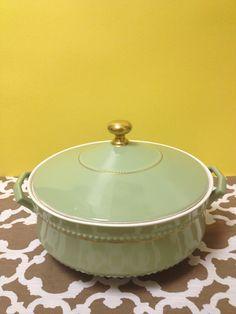 Foam Green Dish with Lid, Euphoria Resale Chicago. www.euphoriaresale.com