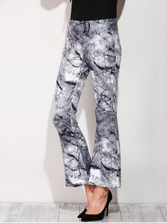 Slimming Boot Cut Pants With Chinese Painting - COLORMIX S