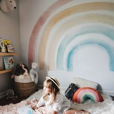 """""""At the end of the Rainbow, is my Rainbow baby."""" - 🌈 We are swooning over this picture of our new Elsi Mural! Girl Nursery, Girls Bedroom, Trendy Bedroom, Room Ideias, Rainbow Baby, Rainbow Room Kids, Rainbow Bedroom, Rainbow Nursery, Little Girl Rooms"""