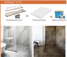 If you want a wet room shower area with just one slope and a wall mounted linear drain, the Unislope 1K is the kit for you.