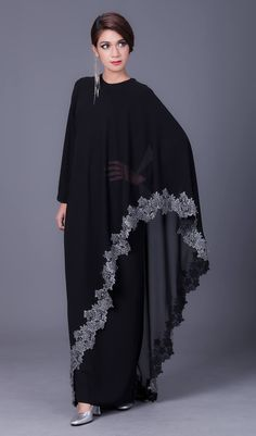 The Stylish and Elegent Abaya In Black Colour Looks Stunnings and Gorgeous With Trendy and Fashionable French Crepe and Georgette Fabric. This is a completley customisable product after placing the or. Abaya Fashion, Muslim Fashion, Modest Fashion, Fashion Outfits, Fashion Fashion, Abaya Designs, African Fashion Dresses, African Dress, Indian Designer Outfits