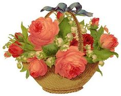basket of roses & lily of the valley and collection of other rose printables