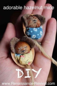 DIY and video of how to make a baby hazelnut mouse sleeping in a walnut shell! SOOO cute! Renaissance-Revival.com