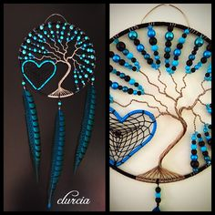 Arbre de vie et attrape rêves en forme de cœur , bleu turquoise et noir, 22 centimètres de diamètre, environ 52 centimètres de longueur, nombreuses perles assorties, plumes de faisan teintées