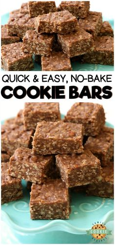 No Bake Cookie Bars recipe is a quick variation on THE BEST no bake cookies recipe. Made with quick oats & chocolate chips, these no bake oatmeal cookies couldn't be tastier! #nobake #cookies #chocolate #dessert #oats #recipe from FAMILY COOKIE RECIPES