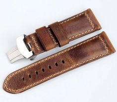 Handcraft!! 24mm Genuine Italy Assolutamente Leather Watch Band Strap & 24mm Deployment Clasp/Buckle For Panerai... $49.99 (75% OFF)