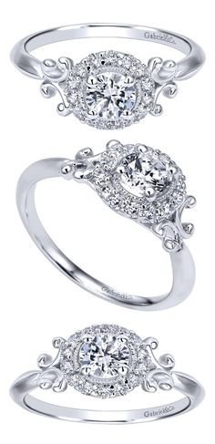 What a beauty with so much to offer! An impeccable and flawless 14k White Gold Contemporary Halo Engagement Ring by Gabriel & Co. The sides are so unique and make it such a special and gorgeous piece!