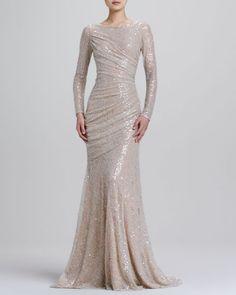 f7f9daaf74 Carmen Marc Valvo - Long-Sleeve Sequined Mermaid Gown Carmen Marc Valvo