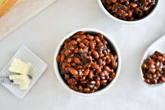 Crockpot Bacon Bourbon Baked Beans -- cooked these for 14 hours and the texture came out great. Too sweet, though.